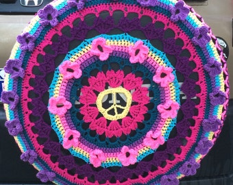 Colorful Crochet Peace and Love Car Spare Tire Tyre Cover
