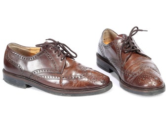 Men Brogues Made In Austria 80s Brown Leather Vintage Lace Up Perforated Wedding Derby Oxford Shoes Mens Gift Eur 44 Us men 10  Uk 9.5