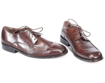 Banana Republic Derby Shoes for Men 90s BURGUNDY Brown Leather Classy Oxford Wing Tip Square Toe Wedding Men Gift Us Men 10, Uk 9.5, Eur 44