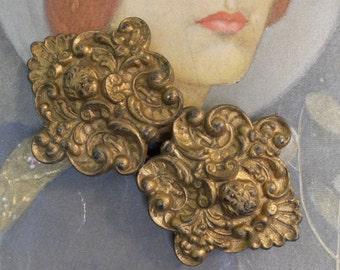 Vintage Brass Buckle Angel Head Edwardian Two Part