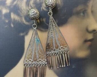 Vintage Sterling Filigree Dangle Earrings Screw Back