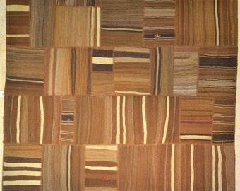 Neutral Browns Patchwork Rug Wool Kilim Handwoven Turkish 5'x6'
