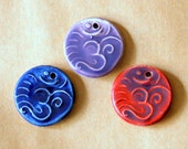 3 Ceramic beads - Om Pendants in Blue and Purples Colors - Handmade Jewelry Supplies - Ancient Namaste symbol for Meditation and Serenity -