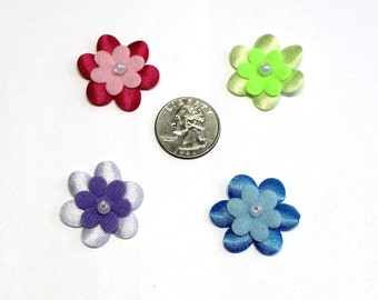 40 Satin Flower appliques hair bow center padded appliques #2