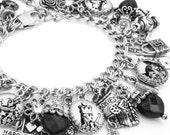 Alice in Wonderland Bracelet, Alice in Wonderland Jewelry, Black and White Jewelry, Mad Hatter, White Rabbit