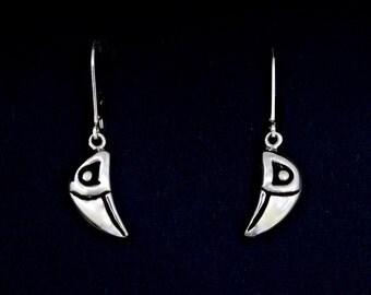 Sterling Silver Raven Earrings, Raven Head Earrings, Recycled Sterling Silver Earrings