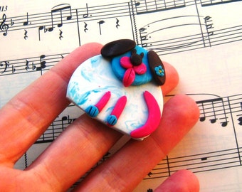 Fimo Polymer Clay  Dog with turquoise flower Brooch Pin or Magnet