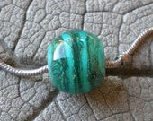 RESERVED for CATHY! Lampwork Beads by Cherie Sra R114 Big Hole Bead Teal with Silvered Ivory Stringer