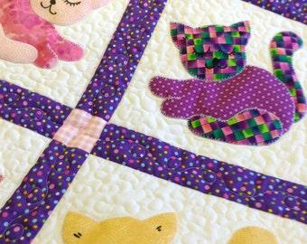 Kitten appliqued  patchwork crib quilt