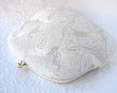 Silk White Wedding Beaded Purse Vintage Glass Bead Handbag Bridal Clutch Formal Evening Bag Pale Gold Colored Kiss Clasp Bead Strap Leaves