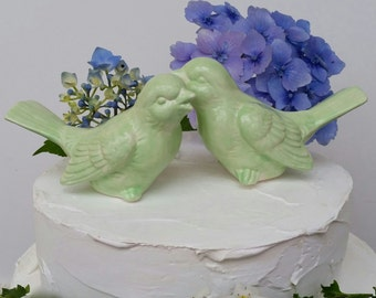 Birds Wedding Cake Toppers Love Birds Mint Color Vintage  in Mint Green Bird Home Decor Wedding Garden Art