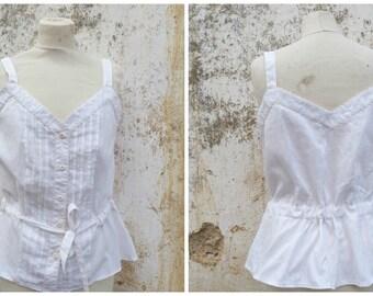 Vintage 1970/70s ecru light cotton crepon adorned with flat pleats blouse  size M/L