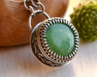 Silver Chrysoprase Necklace, Detailed Bezel Pendant, Green Stone Pendant, Vintage Style Silver, Metalsmithed Stone Necklace,
