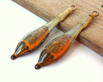 RESERVED FOR BIRDZNBEEZ - Rustic Yellow and Orange Long Drop Enamel Charms