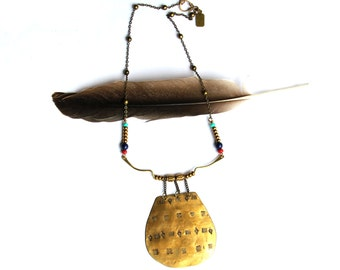 Stamped TribalBrass Shield Pendant Necklace (P1890)