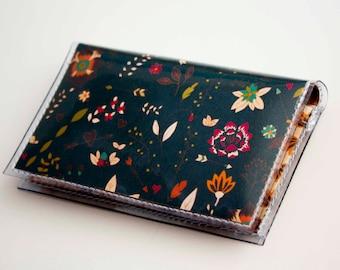 NEW Handmade Vinyl Card Holder - Michelle  / card case, vinyl wallet, women's wallet, small wallet, pretty, gift, cute, mustard, floral