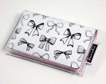Handmade Vinyl Card Holder - Ribbons / card case, vinyl wallet, snap, women's, small wallet, bow wallet, pretty, ribbons, girly, pink