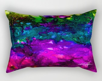 Pink, Green, Purple, Blue, Abstract  Painting Pillow, Home Decor Rectangular Pillow, Decorative, Art - Original Kathy Morton Stanion  EBSQ