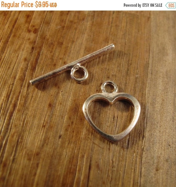 HOT SALE - Silver Heart Toggle Clasp, Large Sterling Silver 15mm Clasp, Jewelry Supplies, .925 Sterling Silver Findings (F-6219s)