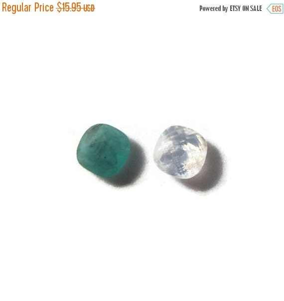 Labor Day SALE - Two NON DRILLED Gemstones, Moonstone and Emerald Stones for Making Jewelry & Setting, 6x4mm (Luxe-Nd1c)