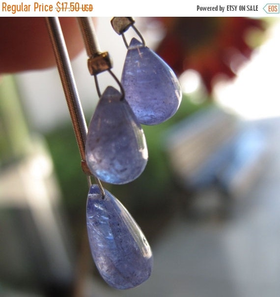 May SALE Natural Tanzanite Beads, Matched Pair Gemstone Briolettes, 2 Tanzanite Top Drilled Stones, Jewelry (PT-Ta2)