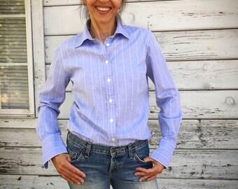 Vintage 90s J Crew preppy shirt/blouse ,stylish, excellent cotton, medium slim fit, long sleeve,blue,office shirt