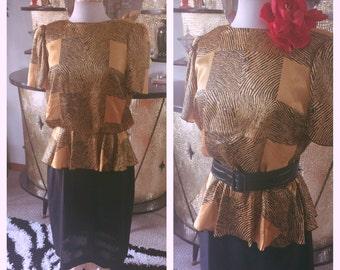 Vintage 1940s style Dress gold black plaid M L 40s