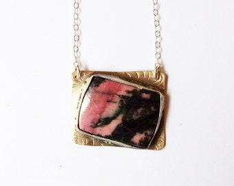Mixed Metal Rhodonite Asymmetrical Handmade Pendant - One of a Kind