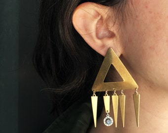 Oversized Triangle Dangles with Sterling Opal Charm