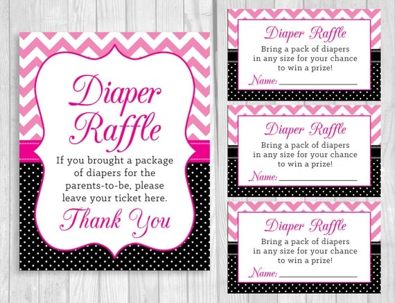 Printable 5x7 or 8x10 Baby Shower Diaper Raffle Sign and Sheet of 3x5 Raffle Tickets - Hot Pink Chevron and Black and White Polka Dots