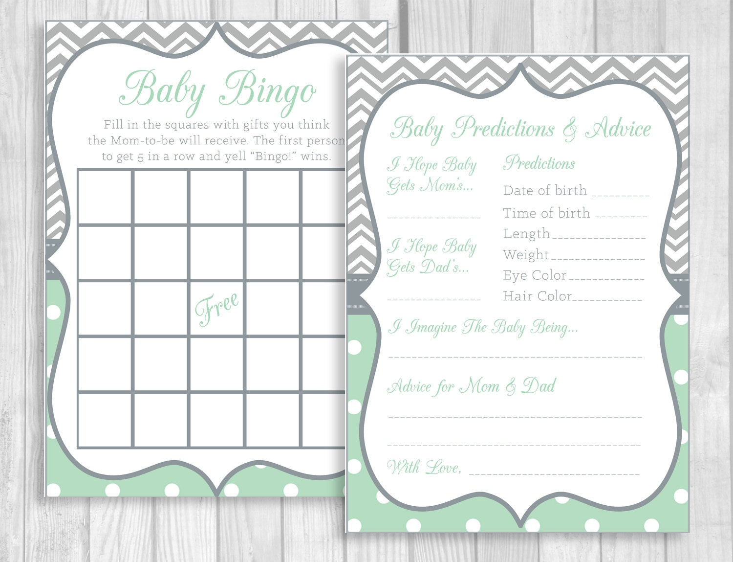 mint green and gray girl 39 s baby shower party printable