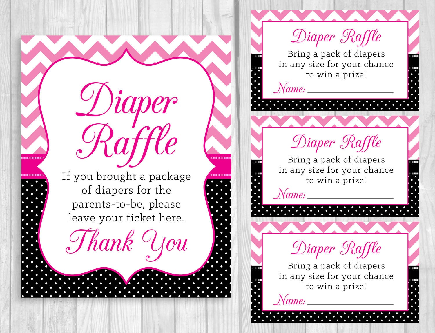 Printable 5x7 or 8x10 Baby Shower Diaper Raffle Sign and Sheet  |Sign For Diaper Baby