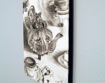 Dormouse Limited Edition Canvas Giclee Print 10x13 Mouse Art Alice In Wonderland Art