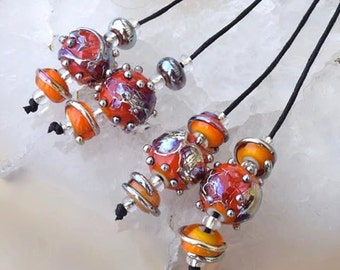 1 Earring Pair *Fire Cracker Spheres & 4 Matching Beads* handmade glass beads by Beadfairy Lampwork, SRA