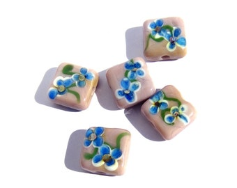Handmade Lampwork Glass Tile Beads pink blue flower rose quartz & serenity