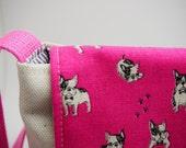 Toddler Messenger Bag - French Bulldog in Vibrant Pink or Cool Blue