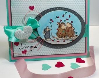 Love Card - Hand Stamped Love Card - House Mouse Card - Hand Colored Card - House Mouse Love Card