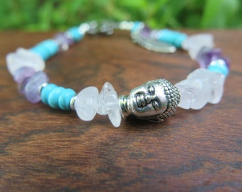 Gem Bracelet with Buddha - Turquoise Rose Quartz Amethyst - Purple Pink Feather Charm - Wanderlust Bohemian Free Spirited Style - Yogi Gift
