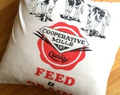 22 Inch Cow Grainsack Pillow Sham