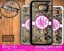 Camo Hot Pink Monogram Galaxy S6 Edge S4 case S5 Tree Camo Personalized Samsung Galaxy S3 Case Note 2 3 4 Cover Country Inspired Girl