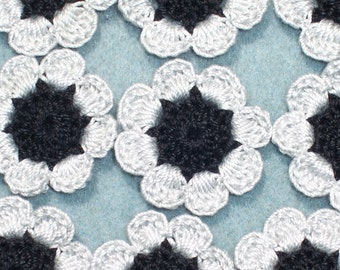 16 handmade black and gray cotton thread crochet applique flowers --  2481