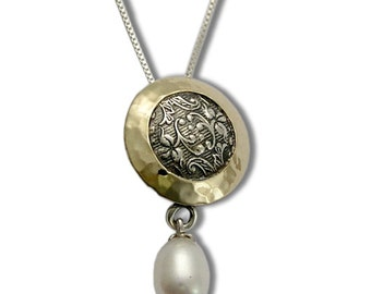 Silver gold necklace, pearl necklace, Sterling silver necklace, botanical jewelry, two tones pendant, round pendant - Never say never N4546