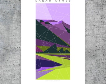 "Squamish River, Squamish Street Banners, Abstract Landscape Art Print Poster  - 12""x18"""