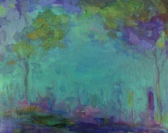 Original Impressionist Landscape Painting- 8x8 Canvas Wall Art- The City in the Distance