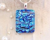 Blue Necklace, Dichroic Glass Pendant, Fused Jewelry, Blue, Necklace Included, A3