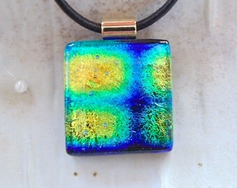 Fused Dichroic Glass Pendant, Glass Jewelry, Gold, Cobalt Blue, Aqua,  Necklace Included, A9