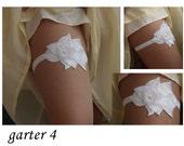 White Bridal Garter,embroidered garter--size M/L