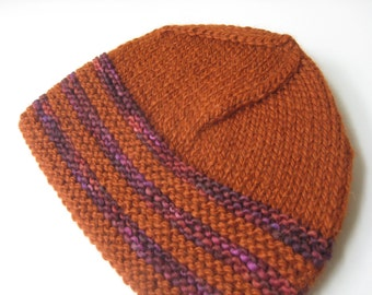 rust and purple hand knit hat