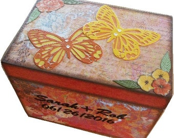 Recipe Box, Decoupaged, Large Box, Butterfly & Other Designs, Bridal Shower, Wedding Storage Organization, Holds 4x6 Cards, MADE TO ORDER