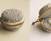 Little Grey Macaron Pouch, Macaron Coin Purse, Macaron Zipper Pouch, Wedding Ring Box, Ring box, Macaroon box
